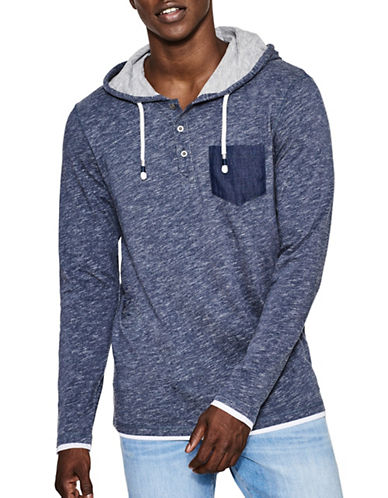 Esprit Heathered Cotton Hoodie-NAVY-Large