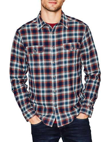 Esprit Plaid Cotton Sport Shirt-ORANGE-Large