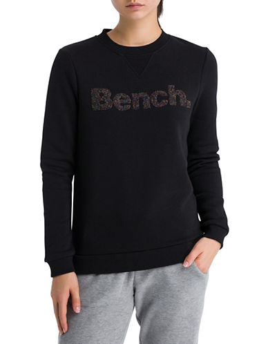 Bench Logo Crew Neck Sweatshirt-BLACK-Large