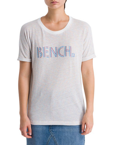 Bench Striped Logo Tee-SNOW WHITE-Large