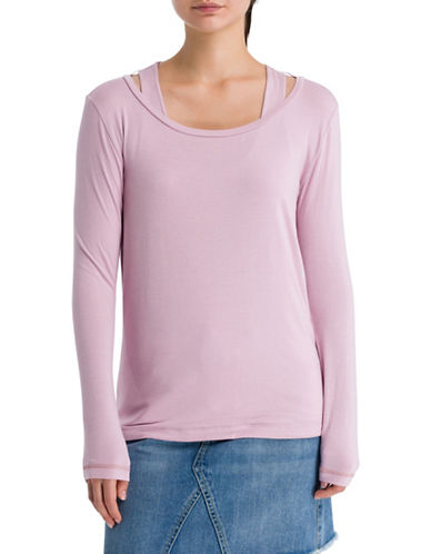 Bench Double Layered Long Sleeve Tee-DAWN PINK-X-Large