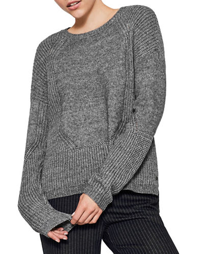 Esprit Textured Wool-Blend Sweater-GREY-Large