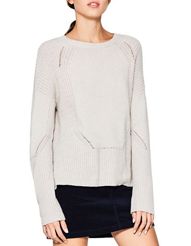 Esprit Textured Wool-Blend Sweater-CREAM-Large