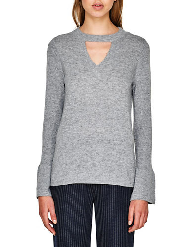Esprit Choker Cutout Detail Sweater-GREY-Large