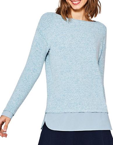 Esprit Space-Dye Long-Sleeve Tee-BLUE-Large