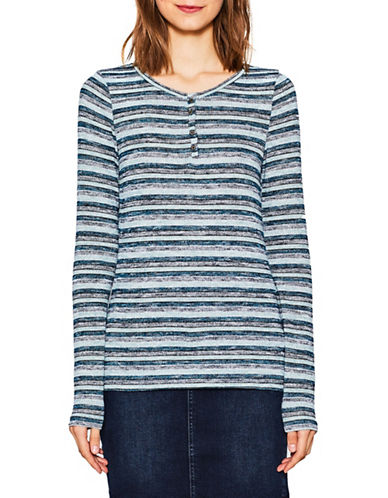 Esprit Striped Long-Sleeved Henley-BLUE MULTI-Large