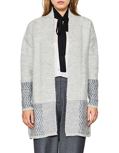 Esprit Intarsia-Knit Accent Cardigan-LIGHT GREY-X-Large
