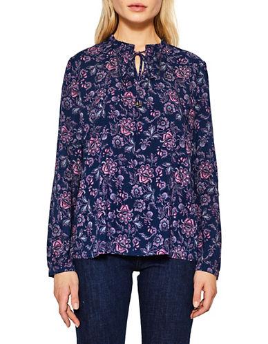 Esprit Ruffled-Collar Floral Blouse-BLUE-34
