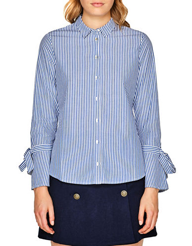 Esprit Stripe Bell Tie Sleeve Cotton Shirt-BLUE-36