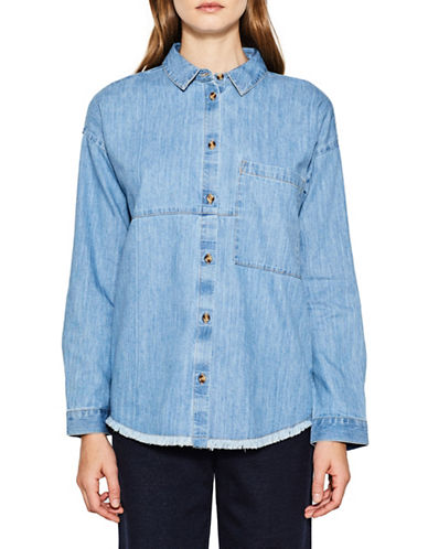 Esprit Frayed Denim Shirt-BLUE-Medium