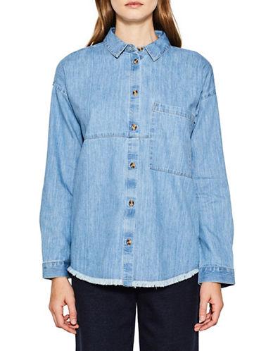 Esprit Frayed Denim Shirt-BLUE-Large