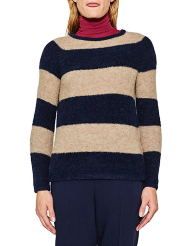 Esprit Rugby Stripe Wool-Blend Sweater-BROWN MULTI-Large