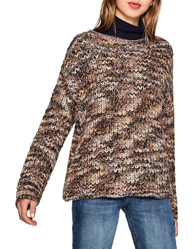 Esprit Chunky Knit Wool-Blend Sweater-BROWN-Small