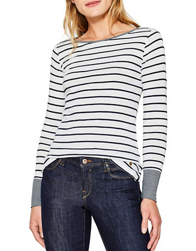 Esprit Mini Stripe Top-WHITE-X-Large