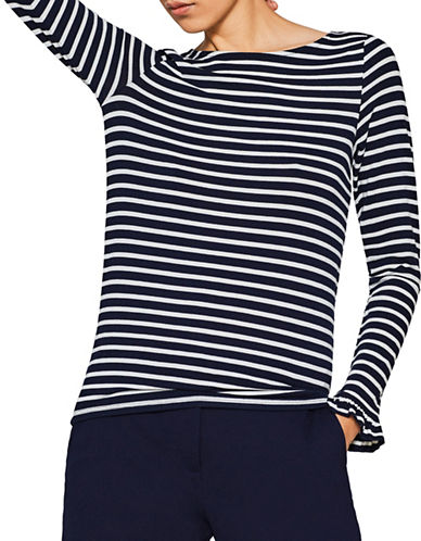 Esprit Stripe Frill Stretch Top-BLUE-Large