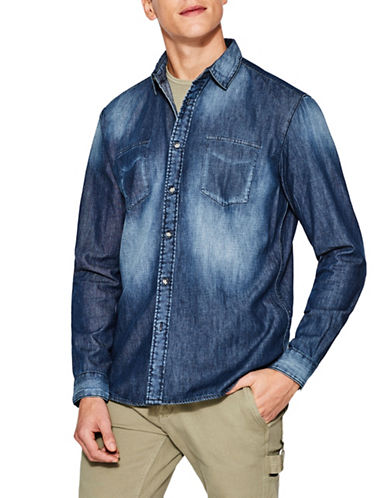 Esprit Faded Denim Sport Shirt-BLUE-Large