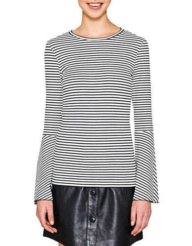Esprit Striped Bell-Sleeve Top-WHITE-X-Large