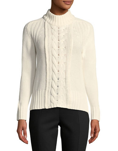 Esprit Cable-Knit Long-Sleeve Sweater-CREAM-X-Large
