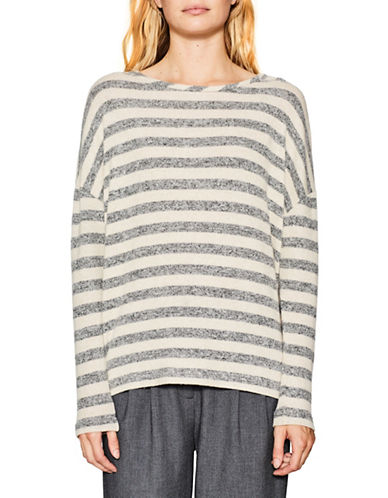 Esprit Stripe Cotton Long-Sleeve Top-GREY-Small 89739106_GREY_Small