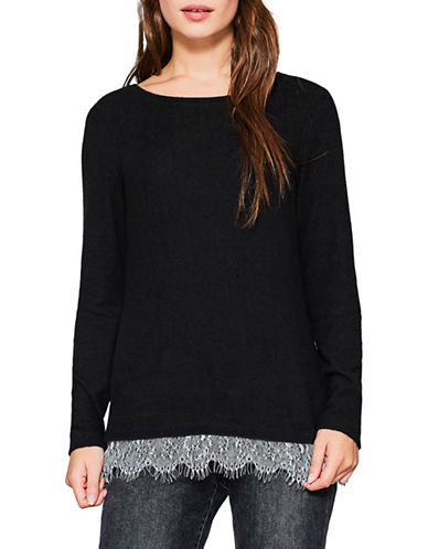 Esprit Lace Hem Top-BLACK-Large