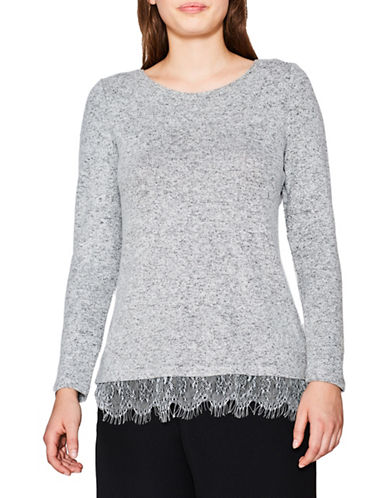 Esprit Lace Hem Top-LIGHT GREY-Small