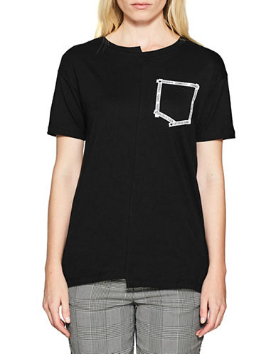 Esprit Asymmetric Cotton Tee-BLACK-X-Large