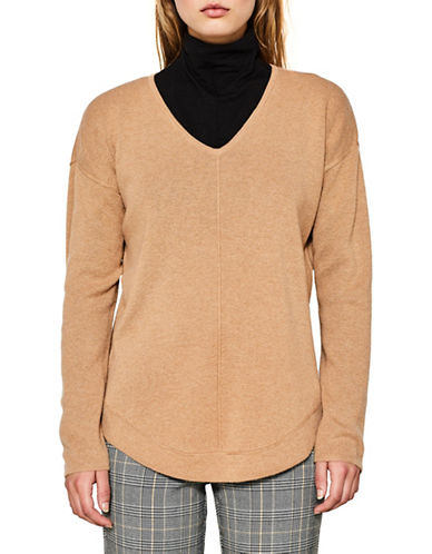 Esprit Seam Front Wool-Blend Sweater-BROWN-Large