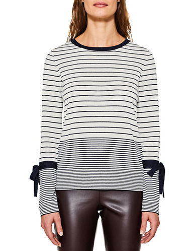Esprit Striped Bell-Sleeve Sweater-WHITE-Small