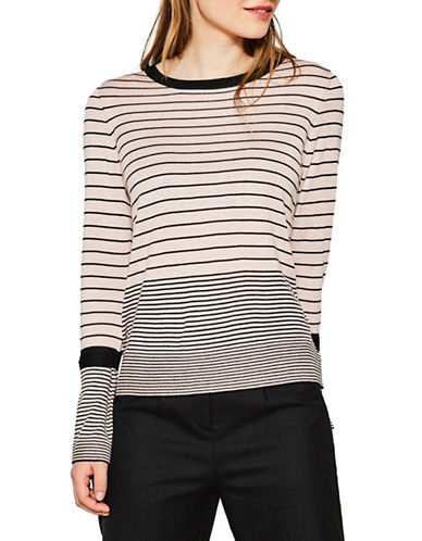 Esprit Striped Bell-Sleeve Sweater-PINK-Large