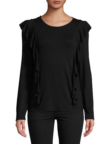Esprit Long-Sleeve Ruffle Tee-BLACK-Small