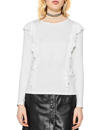 Esprit Long-Sleeve Ruffle Tee-WHITE-Small