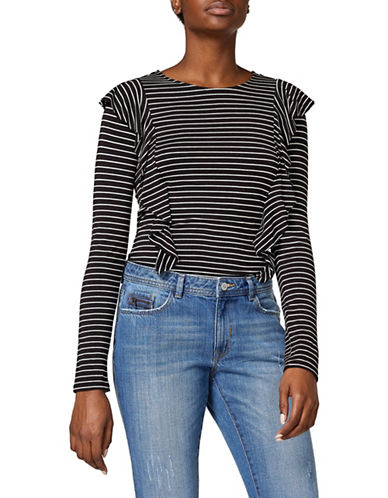 Esprit Striped Ruffle Top-BLACK-X-Large