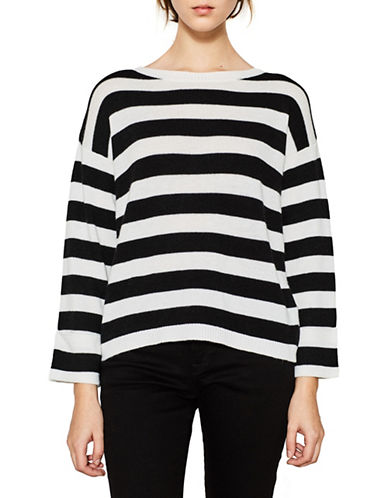 Esprit Rugby Stripe Tulip Back Wool-Blend Sweater-WHITE-X-Large