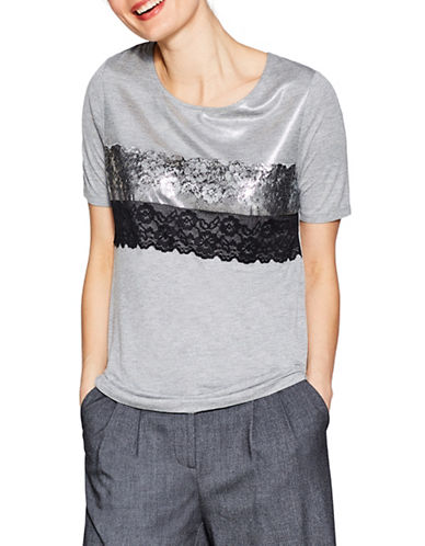 Esprit Lace Foil-Print Short-Sleeve Tee-GREY-Large