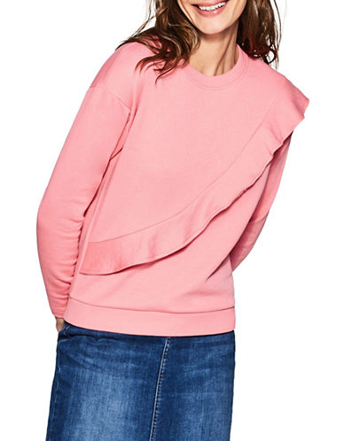 Esprit Long-Sleeve Ruffled Sweatshirt-PINK-Small
