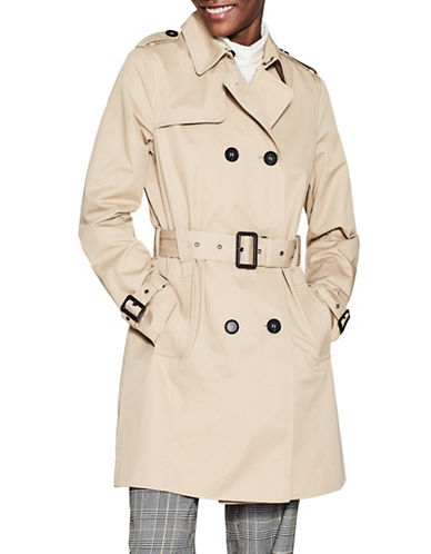 Esprit Belted Cotton Trench Coat-BEIGE-Large