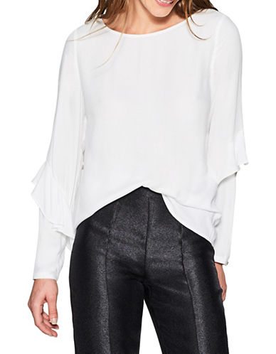 Esprit Ruffle-Sleeve Blouse-WHITE-40