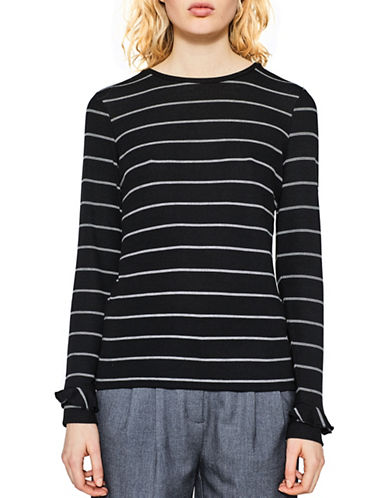Esprit Striped Ruffle Cuff Tee-BLACK-X-Large