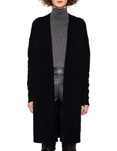 Esprit Open Front Wool-Blend Cardigan-BLACK-Small