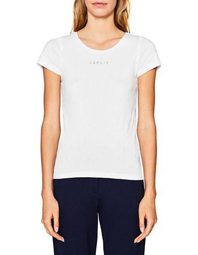 Esprit Logo Short-Sleeve Cotton Tee-WHITE-Small 89859333_WHITE_Small