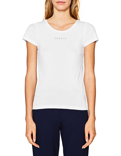 Esprit Logo Short-Sleeve Cotton Tee-WHITE-Large