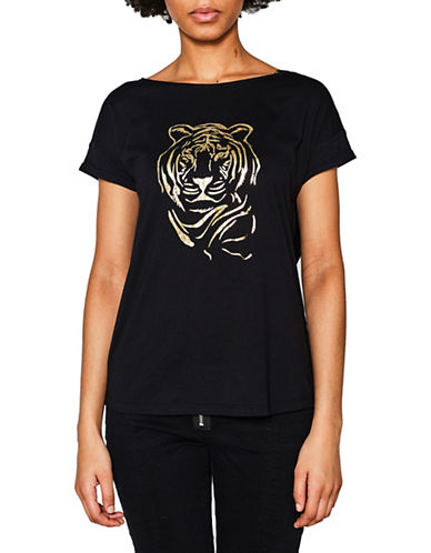 Esprit Metallic Tiger Tee-BLACK-Medium