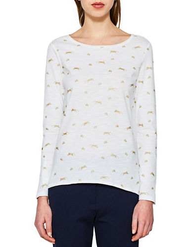 Esprit Printed Long-Sleeve Cotton Tee-WHITE-X-Large