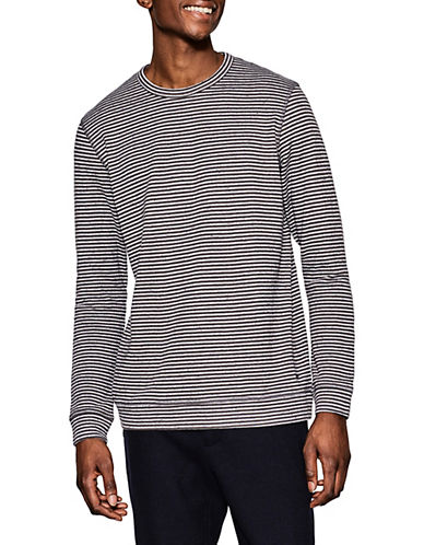 Esprit Striped Linen-Blend Jersey Top-GREY-Large 89883238_GREY_Large