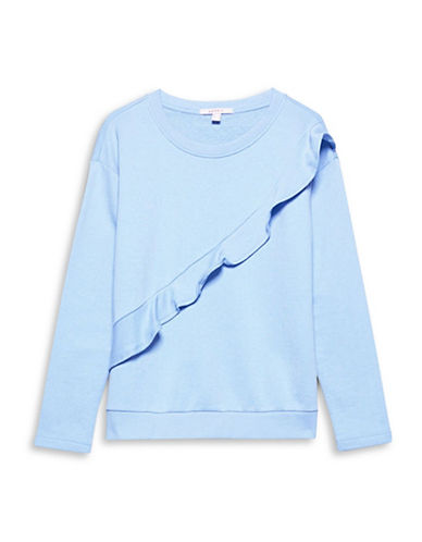 Esprit Long-Sleeve Ruffled Sweatshirt-LIGHT BLUE-Large