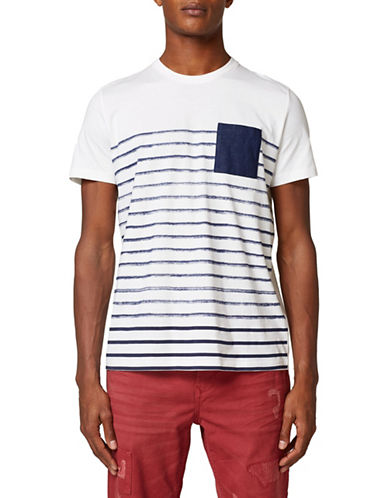 Esprit Stripe Cotton T-Shirt-WHITE-Large 89972548_WHITE_Large