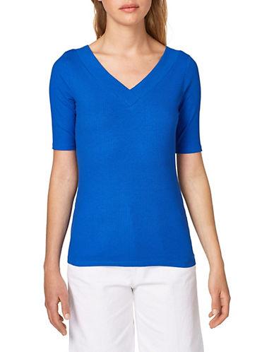 Esprit Ribbed V-Neck T-Shirt 90242358
