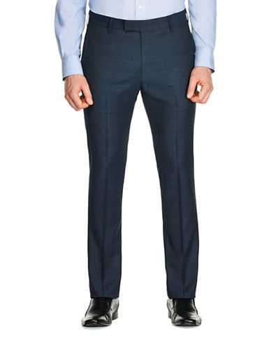 Kenneth Cole Reaction Plaid Slim-Fit Trousers-NAVY BLUE-38X32