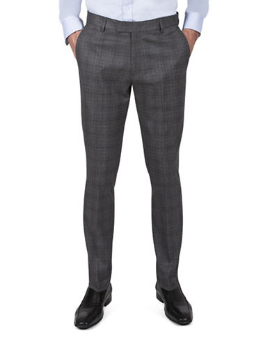 Kenneth Cole Reaction Slim-Fit Mini Houndstooth Plaid Dress Pants-GREY-34X32