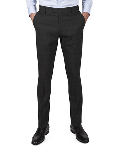Kenneth Cole Reaction Slim-Fit Plaid Pants-GREY-38X30